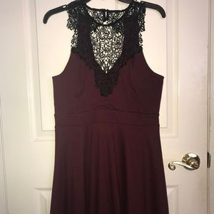 Maroon Cocktail Dress with Lace Neckline